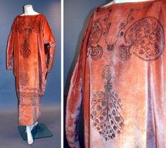Fortuny Peach Velvet Cocoon Dress   Italian, 1920s