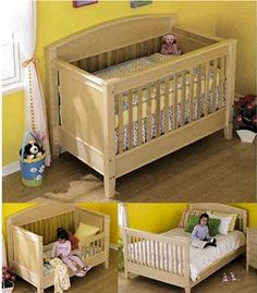 Homemade wooden 3 in 1 Convertible Baby Crib. (Would probably choose a different color but like the idea.)
