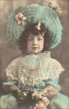 Edwardian Children, Belle Epoque French Romantic Fancy Little Girl in Blue Lace Dress & Hat, Original 1900s Rare Photo Postcard Used in 1906