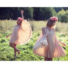 Peach Pleated Dress with Belt