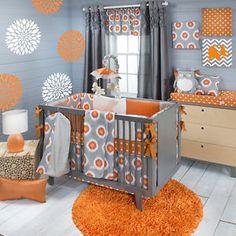Sweet Potato Rhythm Baby Bedding Crib Set 8PC Orange Grey Modern Bold Unisex | eBay