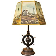 Ships Wheel Table Lamp With Parchment Shade Ship Wheel, Nautical Home, Contemporary Lamps, Sailors, Cool Furniture, Home Office, Beaches, Table Lamp, Ships