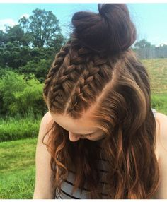 Triple french braids and top knot! French braids, top knot, braid, braids, long hair styles, long hair, braided updo, bun, hair by Danielle Ryan of #curriewchester, www.curriedayspa.com
