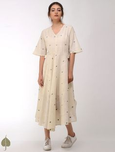 Ivory-Blue Handloom Cotton Dress by Jaypore Baggy Dresses, Casual Day Dresses, Linen Dresses, Simple Dresses, Cotton Dresses, Cotton Dress Indian, Cotton Long Dress, Long Frock, Stylish Tops For Women