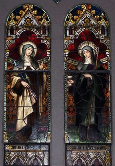 Stained glass windows featuring St. Teresa of Avila and St. Bridget of Kildare, St. Joseph's Catholic Church, Macon, GA.