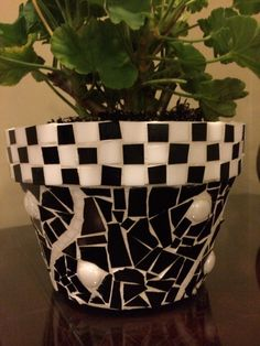 Mosaic flower pot.  Black and white.                                                                                                                                                                                 More