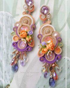 Shibori, Soutache Earrings, Oriental Fashion, Beaded Jewelry, Jewellery, Beading Patterns, Boho Fashion, Flora, Instagram
