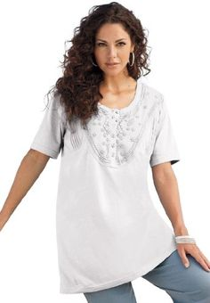5eeeff41388 Roamans Plus Size Embroidered Henley Tunic