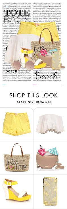 """""""Beach totes"""" by skyes-are-blue ❤ liked on Polyvore featuring Oris, Straw Studios, Kate Spade, MANGO and beachtotes"""