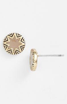 House of Harlow starburst engraved stud earrings.