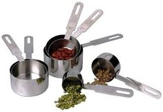 The RSVP Endurance stainless steel measuring cup set includes 7 dishwasher safe measuring cups.  Strong enough to last a lifetime and assorted sizes, these cups will never let you down. DMC-10 $38.95