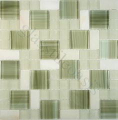 Davinci  Brick and Square, Unique Shapes, Green, Glossy & Frosted, Green, Glass and Stone