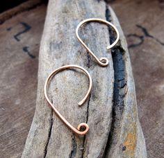 Modern Design Copper Hoop Ear Wires 20ga French by NadinArtGlass, $3.50