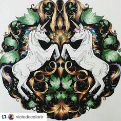 «Que efeitos! #Repost @viciodecolorir with @repostapp ・・・ Olha gente, que encanto!  Eu encontrei esses unicórnios num grupo de pintura do Facebook e foi…»