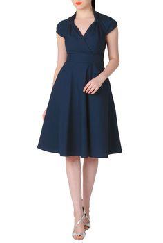 Deep Navy Cotton Poplin Dresses, Surplice Front Spring Dresses Women's short dresses - Evening dresses, cocktail, prom dresses CL0033977 | eShakti -- Dress length: as shown; sleeves: elbow length.
