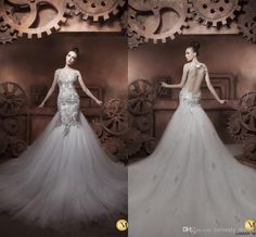 2014 Luxury Sheer Beaded Straps Tulle and Corset Wedding Dresses Mermaid Court Train Hassan Mazeh Illusion Backless Bridal Gowns Ruffled