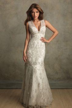 V-neck Empire Sheath Wedding Dress picture 1