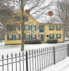 """(before all the snow melted)"""" Stellwagen """" Yellow Cottage, Colonial, Snow, House Styles, Winter, Outdoor, Home Decor, Winter Time, Outdoors"""