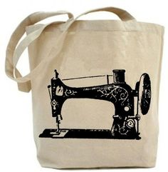 Vintage Sewing Machine Tote  Canvas tote bag by PaisleyMagic, $19.99