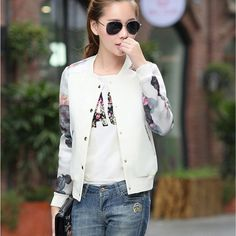 Outerwear Type: Jackets Decoration: Appliques Decoration: Zippers Clothing Length: Short Sleeve Style: Regular Pattern Type: Floral Closure Type: Zipper Type: Slim Hooded: No Material: Polyester Colla