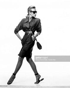 News Photo : Model Estelle Lefebure wearing strong-shouldered...