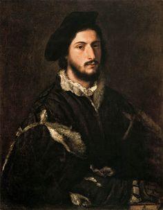 Portrait of Vincenzo Mosti, 1520 by Titian (Tiziano Vecellio)  Galleria Palatina of Florence (Palazzo Pitti)