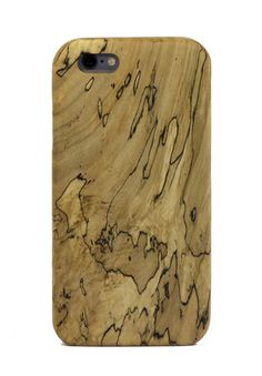 Spalted Maple Wood iPhone 6 and iPhone 6 Plus Case crafted from a single piece of spalted maple wood and lined with natural cork.