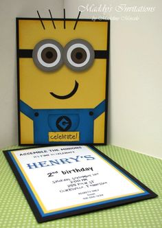 Cute Despicable Me Minions Invitations...by Maddy's Invitations. You set the price and they make an amazing card for you. www.maddysinvitations.blogspot.com