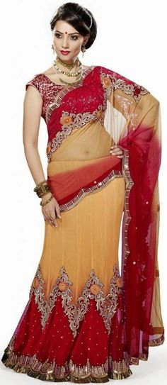 USD 143.72 Red and Yellow Zardosi Work Net Party Wear Lehenga Saree 27159