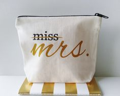 Miss to Mrs Canvas Makeup Bag Bride Gift Make Up Pouch