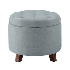 Tufted Round Storage Ottoman -Heathered Gray - Threshold™ : Target