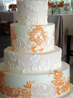 a jim smeal wedding cake! mine will be very similar: 3 tiers with a soft blush background with ivory flowers on the bottom and top tier (with almond ginger cake mmmm), and the middle tier will look like ivory fabric with large ivory flowers (and chocolate hazelnut cake).  so excited.