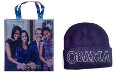 Obama-  First family Commemorative (16x15) Bag & Black Rhinestone Obama Ski cap #Unbranded #TotesShoppers