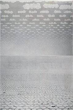PAUL NOBLE  The Sea Drawing V The Carnival Between, 2005  Pencil on paper  2 panels: 59 x 78-3/4 inches