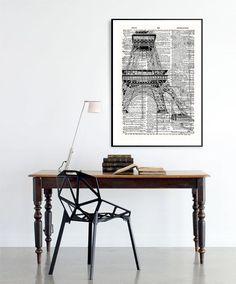 Eiffiel tower Vintage Neo retro Dictionary Sheet por SoulArtCorner