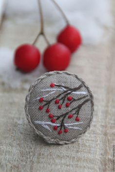 "Embroidery Japanese Buy brooch ""the hawthorn outside my window"" on Livemaster online shop - Brooch ""the Hawthorn outside my window"" - buy or order in an online shop on Livemaster Embroidery Works, Embroidery Jewelry, Cross Stitch Embroidery, Embroidery Patterns, Hand Embroidery, Textiles, Fabric Brooch, Felt Christmas Ornaments, Japanese Embroidery"