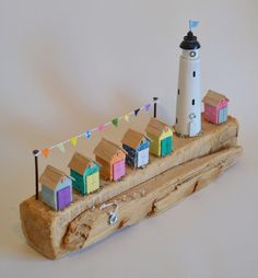 Driftwood 'Carnival Day' Handmade In Cornwall. Retro Beach Huts, Lighthouse £52.00