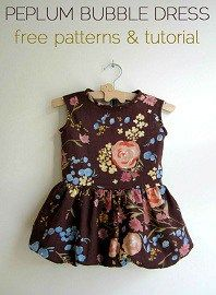An from StraightGrain shares a free pattern for making a pretty little bubble peplum dress for little girls. Love!! The pattern comes in sizes for ages 1-6. Go to her blog to get the free patte…