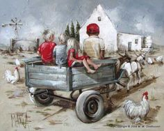 Donkey Cart By Maria Magdalena Oosthuizen Art Gallery, Art Painting, Painting People, Art Images, Ear Art, Painting, Cute Art, Art, Cool Paintings
