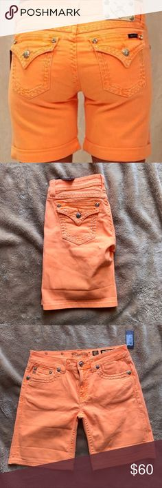 Miss Me neon Orange Boyfriend Shorts NWT Brand new never worn perfect for spring/fall Miss Me Shorts Jean Shorts