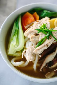 Chicken Udon Soup with Bok Choy - Each bowl is packed with protein, vegetables, and Asian noodles in a savory soy ginger broth. A simple and…