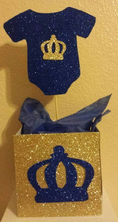 Royal Little Prince Blue Gold Centerpiece base container birthday party or Baby shower Table Decor Baby Shower Niño, Baby Shower Parties, Baby Shower Themes, Baby Shower Gifts, Royal Baby Shower Theme, Baby Showers, Baby Shower Table Decorations, Baby Shower Centerpieces, Birthday Decorations