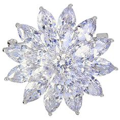 EleQueen Women's Silver-tone Full Cubic Zirconia Dazzling Flower Snowflake Bridal Brooch Pin Clear. Made of crafted environmental friendly Cubic Zirconias, this jewelry shines with grace and beauty. And the metal surface is of high polished finish. CZ Color: Clear; Width: 1.4in, Length: 1.5in; Total Weight: 18g. A perfect accessory to your outfit or as an appropriate gift, e.g.for your Daughter, Lover, Girlfriend, Fiancee, Wife, Mother, Couple, Valentine or just a Friend,etc; Suitable for…