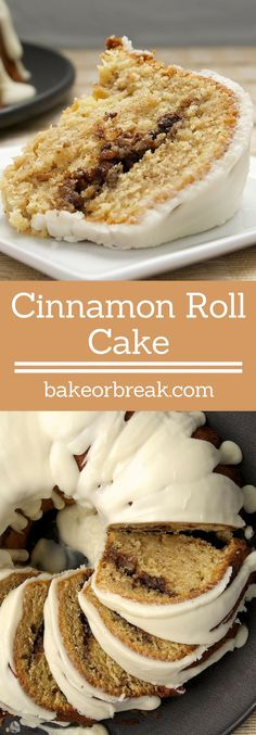 Cinnamon Roll Cake takes all the flavors you love in cinnamon rolls and puts them into a delicious cake! Weight Watcher Desserts, Bunt Cakes, Cupcake Cakes, Just Desserts, Delicious Desserts, Yummy Treats, Sweet Treats, Cake Recipes, Dessert Recipes