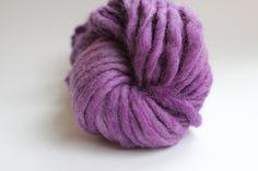 Hand Spun Hand Dyed Thick and Thin Chunky Wool Yarn Deep Lilac Color. $14.00, via Etsy.