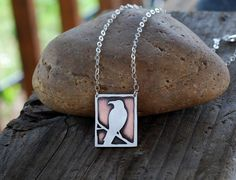 The Raven. Sterling Silver and Copper Crow Necklace by Arrok, $78.00