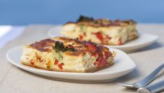 Homemade Feta cheese, sweet pepper and broccoli quiche at Grace Santorini.