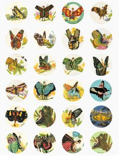 vintage flapper girl butterfly fairy fairies clip art digital download collage sheet 1.5 inch circles