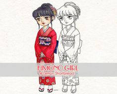 This listing is for 1 digi stamp/ coloring page Kimono Girl. Sweet looking traditional Japanese kimono girl with a small pouch. You can custom the background and colours according to seasons.  You get a high resolution 300dpi jpeg file and a transparent background PNG. Coloured examples are NOT included in the sale.  The artwork is 8.5 inches height. There are no watermarks on the actual artwork, the file can be downloaded from Etsy after payment has processed.  My artwork is first drawn...