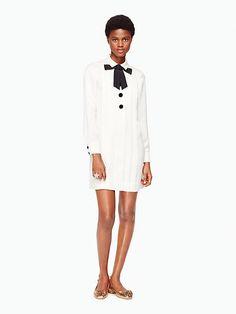 satin crepe bow shirtdress | Kate Spade New York